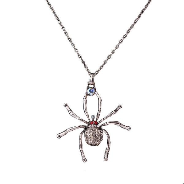 Fashion spider pendant rhinestone chain antique silver