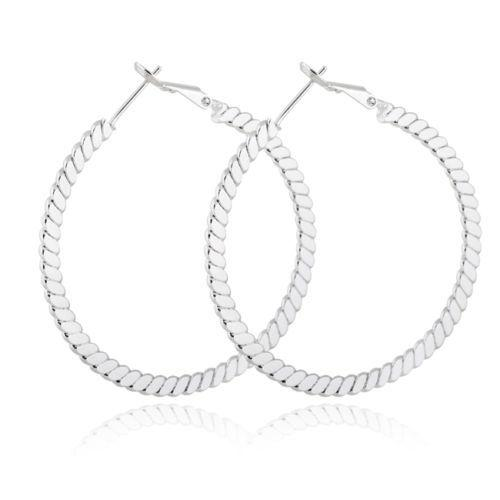 Fashion women's big hoop dangle silver plated earrings style