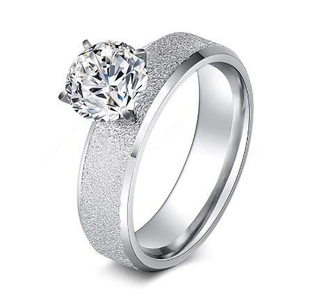 Gorgeous stainless steel frosted cz crystal ring - size 7