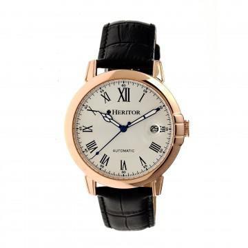 Heritor Laudrup Automatic Silver Dial Black Leather Men's