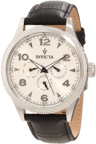 Invicta men's 12202 vintage silver dial black leather watch