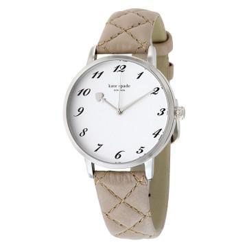 Kate spade metro white dial grey leather ladies watch