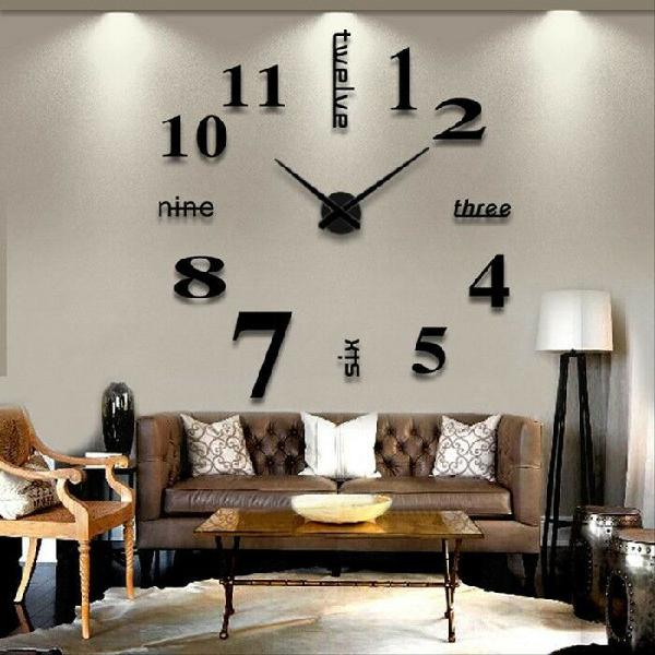 Modern wall clock living room diy 3d home decoration large