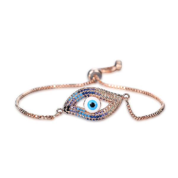 New fashion eye shape adjustable metal zircon bracelet