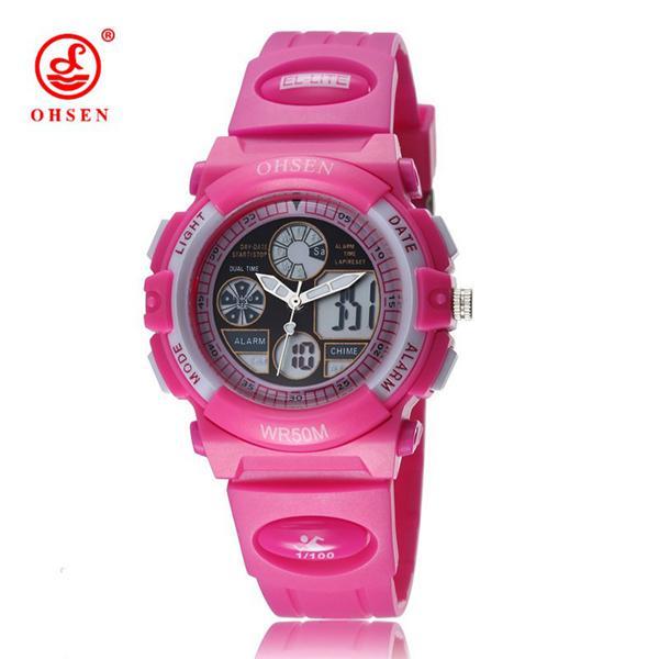 Ohsen ad1502 women girls fashion led sport watch