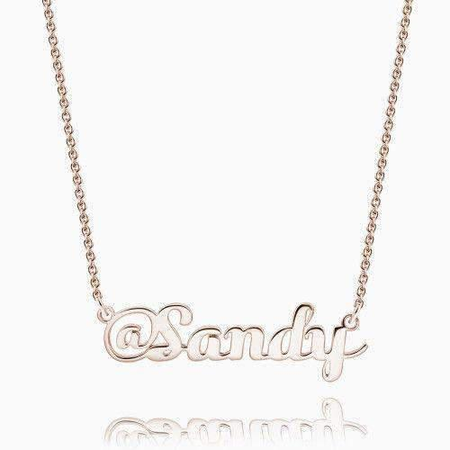 Sign name necklace rose gold plated silver