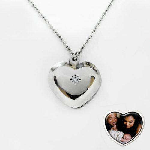 Stainless steel heart shaped locket + photo + free engraving