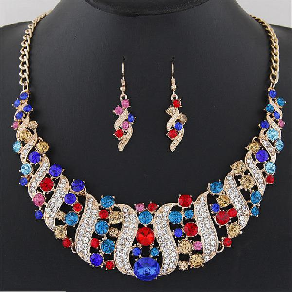 Statement jewelry set colorful rhinestone corkscrew spin