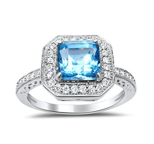 Sterling silver blue topaz ring princess square aascher cut
