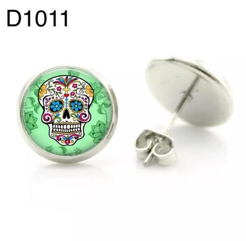 Sugar skull stud earrings rhodium plated 12mm