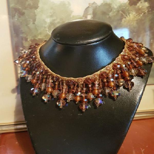 Ultra rare lina baretti golden amber demi parure ~ crystal &