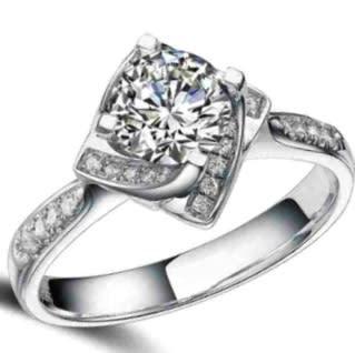 Unique 1.30ct cr.diamond engagement ring, flower pave. size