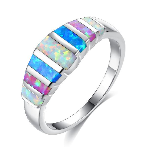 Unisex trendy colorful opal finger rings fashion silver