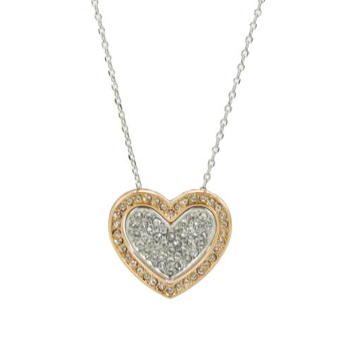 White and rose gold plated double heart pendant necklace