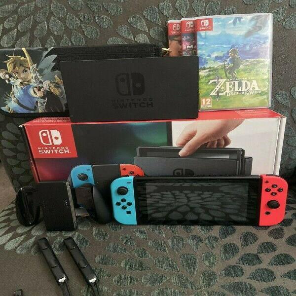 Nintendo switch console with 1 2 switch zelda mario kart 8