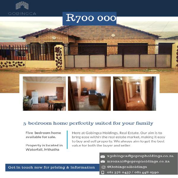 5 bedroom house for sale waterfall park, mthatha
