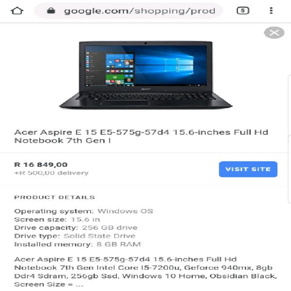New acer aspire intel core i5 7th gen high spec gaming