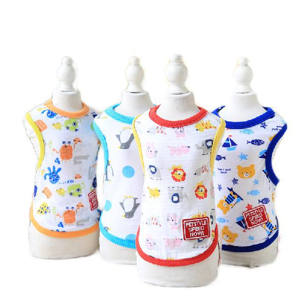 Small puppy cartoon vest pet dog clothes for dogs summer