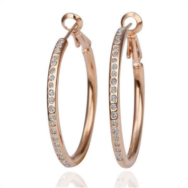 Nykkola 18k rose gold plated austrian crystal hoop earring