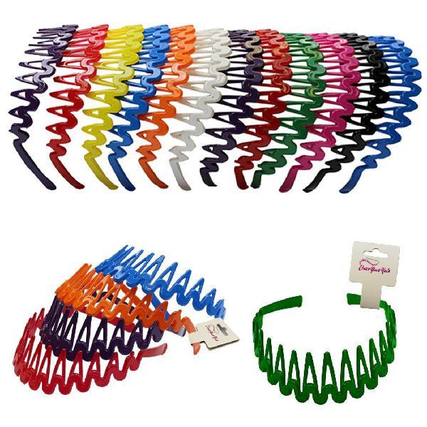 Plastic headband with teeth - 12 hard headbands - bright