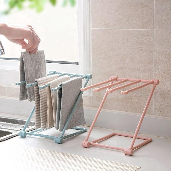 1pc folding cloth towel rack kitchen supplies punch-free