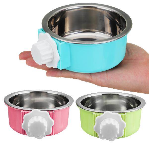 5cm stainless steel hang-on bowl for pet dog cat crate cage