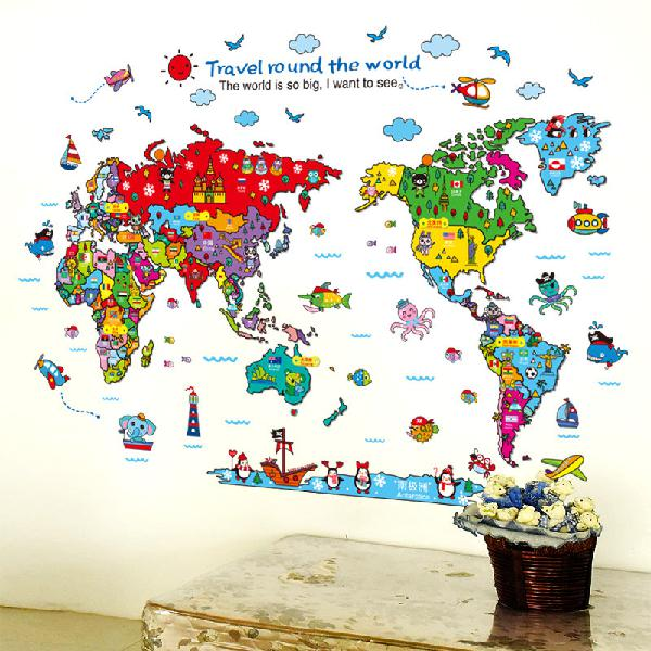 Cartoon animals world map wall stickers for kids room
