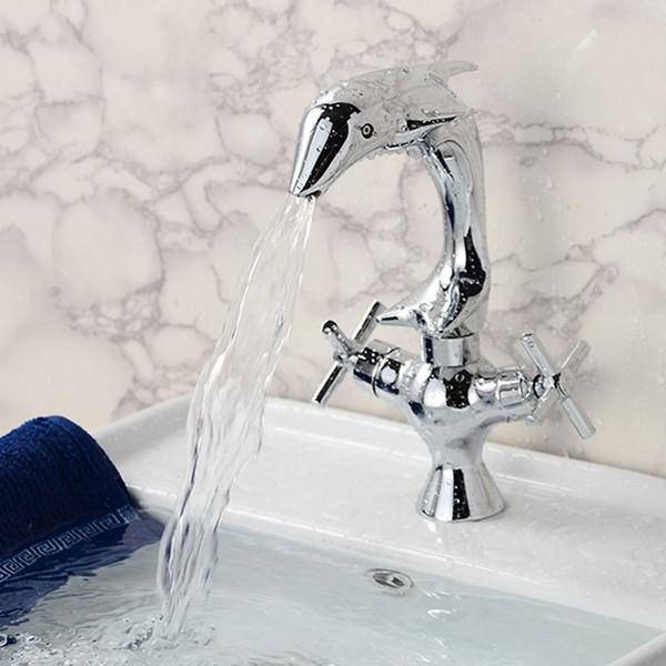 Creative dolphin shape double handle basin sink mixer tap