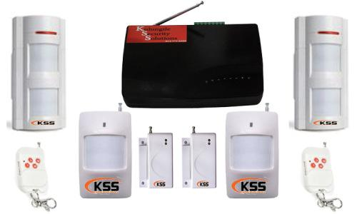 Gsm security alarm system with 2 outdoor motion detectors