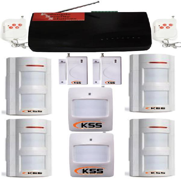 Gsm security alarm system with 4 outdoor motion detectors