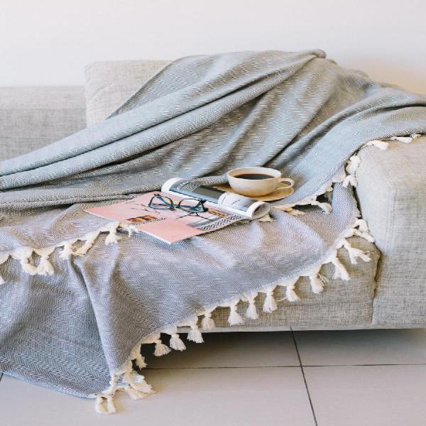 Herringbone blanket/throw - dark grey