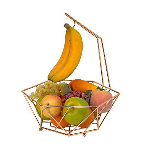 Kitchen details geode decorative basket bowel with banana