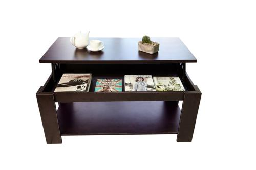 Lift top coffee table (modern design) - brown [second hand]