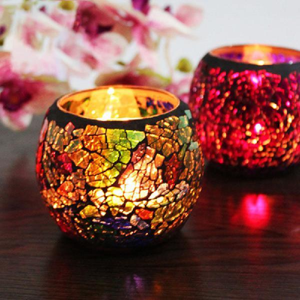 Mosaic candle holder romantic candlelight dinner wedding