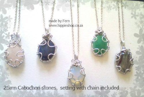 Stone pendants, cabochon oval,blue, pink, opalite, green,