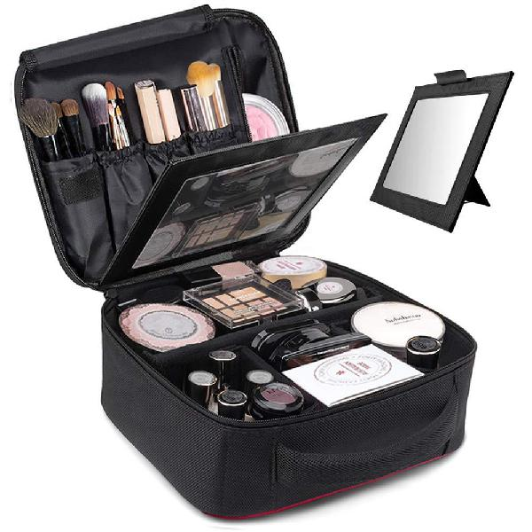 Topsefu makeup bag,quick make up bag with mirror,makeup case