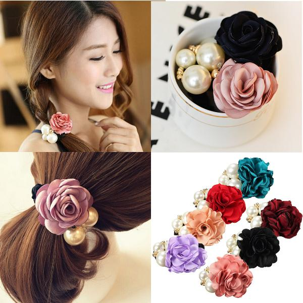 Women Satin Ribbon Rose Flower Pearls Hairband Ponytail