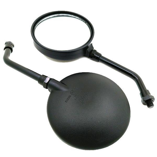 10mm vintage black round rear view motorcycle mirrors bike