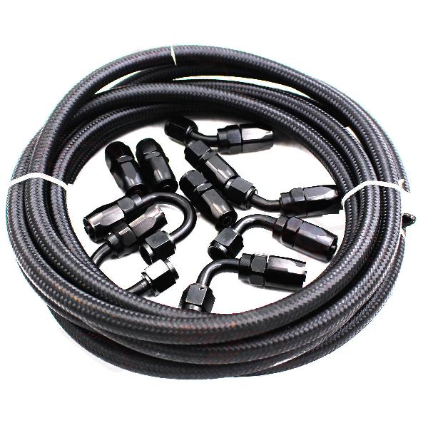 5m an8 nylon stainless steel braided fuel 0/45/90/180 hose