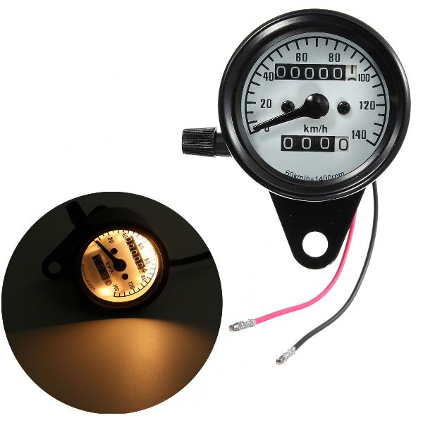 Motorcycle dual odometer speedometer mechanical gauge white