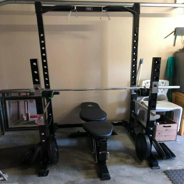 Squat rack and bench, olympic bar, weight plates