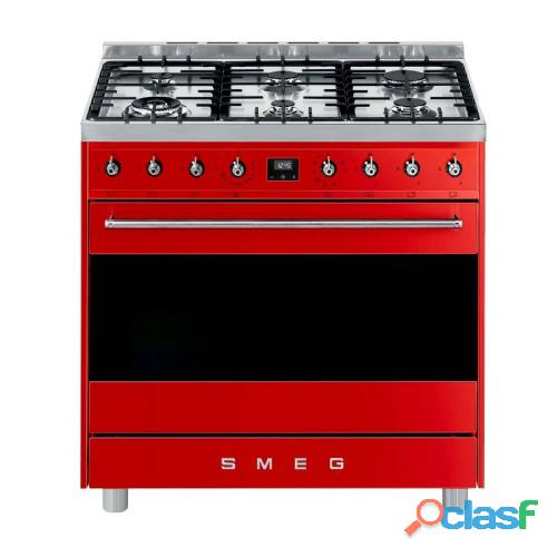 Smeg 90cm red symphony 6 burner gas hob cooker / electric oven   model: c9marssa9