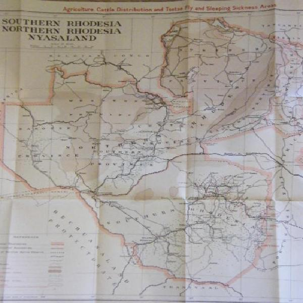 Rhodesia Map of 1939,Agriculture,Cattle Distribution,Tsetse