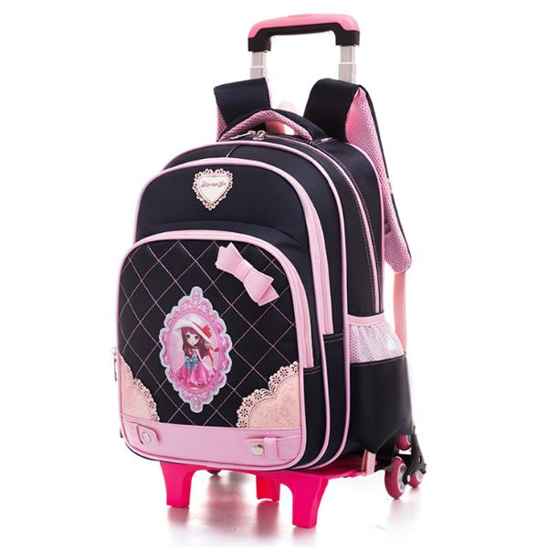 2/6 Wheels Children Trolley Backpack 16inch Laptop Bag