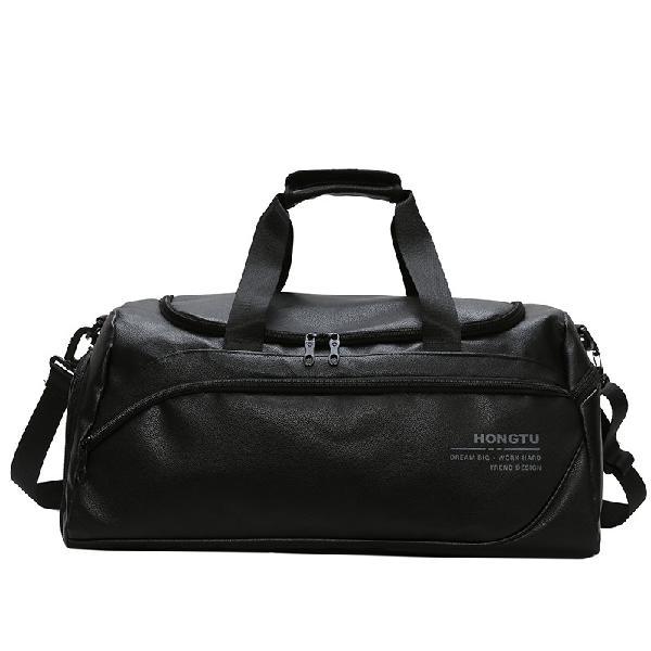 35L PU Leather Outdoor Sports Gym Duffel Bag Travel Luggage
