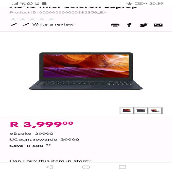 Asus laptop brand new