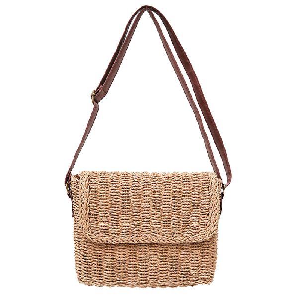 Woman Straw Rattan Crossbody Bag Vintage Handmade Shoulder