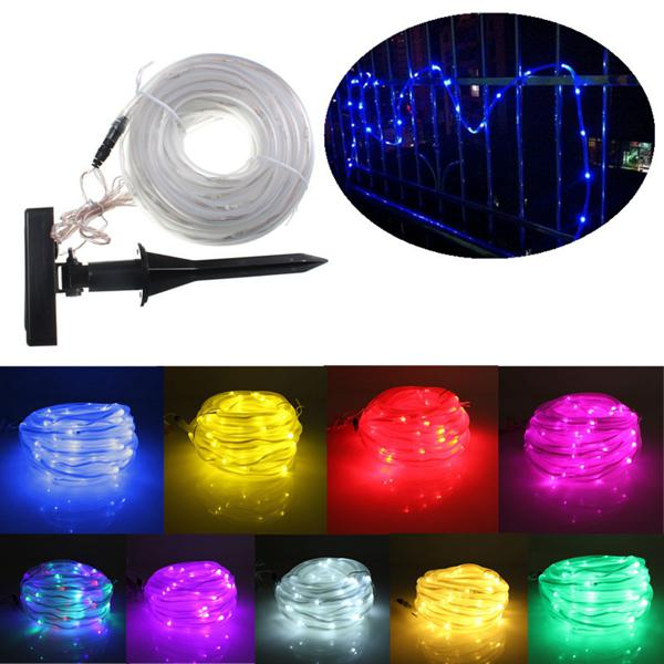 10m 100LEDs Solar Rope Tube Lights Led String Strip