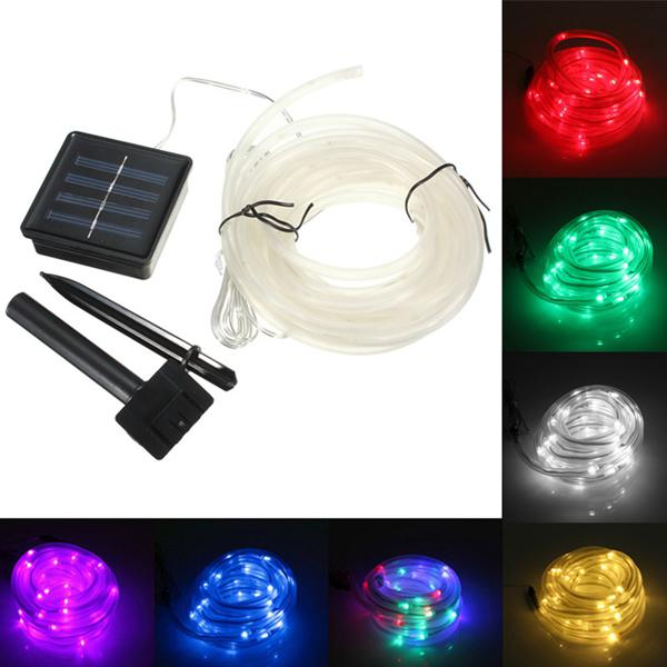 7m 50 led solar waterproof led rope tube string fairy light