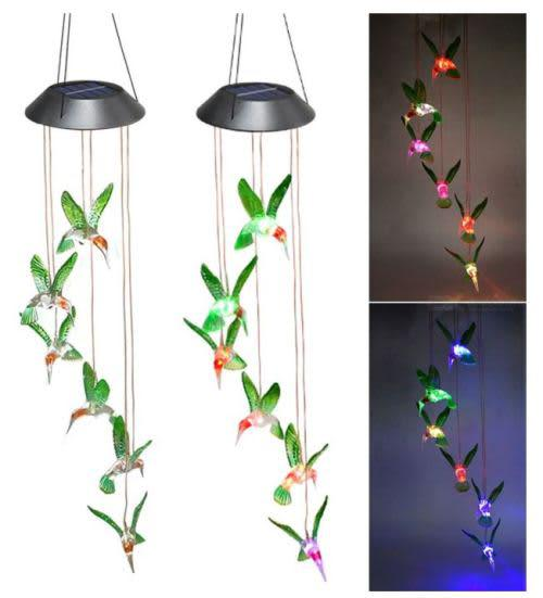 Colour changing solar led hummingbird - indoor outdoor
